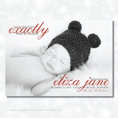 Christmas Birth Announcement  - Santa Brought...