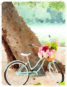 Beach bicycle waterlogue
