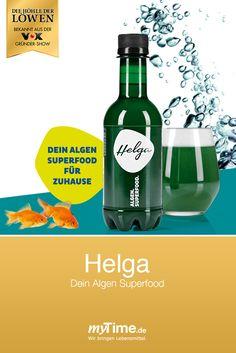 """""""Helga"""" ist ein vollkommen neues Erfrischungsgetränk mit Chlorella-Alge. Aus """"Die Höhle der Löwen"""" Superfood, Drinks, Bottle, Lion's Den, Feel Better, Foods, Drinking, Beverages, Flask"""