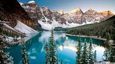Another beautiful winter shot of Moraine Lake in Banff National Park Alberta Canada #Banff
