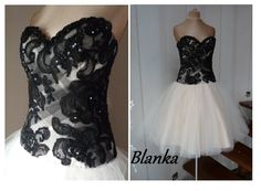 BLANKA, Black and beige prom dress, Tulle bridesmaid dress, Knee-length formal…