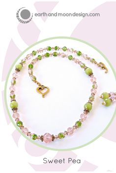 """Sweet Pea"" #handmade #necklace has romantic spring energy in trending #pink.  $52: https://earthandmoondesign.com/products/sweet-pea-pink-and-green-jewelry"