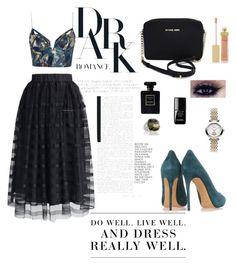 Dark romance by natjarv on Polyvore featuring #polyvore #fashion #style #Zimmermann #Chicwish #Casadei #michaelkors #VivienneWestwood #Tacori #AERIN #Chanel, le top, #Levi's #black #Dark, #Chanel #perfume