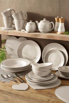 Buy 12 Piece Love Dinner Set from the Next UK online shop Kitchen Dining, Kitchen Decor, Coffee Cup Set, Kitchen Utilities, Easter Table, Dinner Sets, Home Kitchens, Dinnerware, Home Accessories