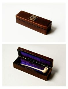 Miniature hand carved Ivory church warden pipe in leather bound box.