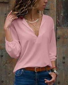 Shecici Sexy V Neck Pure Color Long Sleeve Blouses - modvivi Fashion D, Women's Summer Fashion, Casual Blazer Women, Casual Outfits, Fashion And Beauty Tips, Summer Blouses, Types Of Sleeves, V Neck, Long Sleeve
