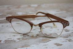 Vintage 1950's Copper Etched Aluminum Cat Eye Eyeglasses.