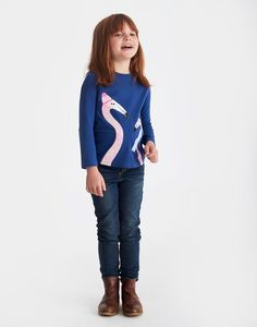 Ava Flamingo Applique Jersey Top | Joules UK