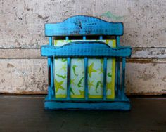 Napkin Holder Turquoise Distressed Wood by turquoiserollerset, $14.00