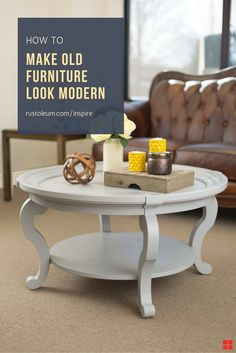 Bring your dated coffee table up to date with a modern palette of colors and finishes. No interior designer required. It's easy to makeover your coffee table with these free DIY plans from Rust-Oleum Inspire. Whether it's already painted or bare crate or pallet wood, you can get that midcentury modern or farmhouse look you're going for with Rust-Oleum Inspire, available now at Lowes.