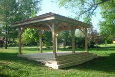 Custom cedar pavilion by Flamborough Patio Garden Structures, Outdoor Structures, Sunrooms, Fences, Pavilion, Outdoor Spaces, Gazebo, Deck, Patio