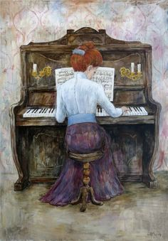 """Photo from album """"Нино Чакветадзе"""" on Yandex. Anime Comics, Naive, F Pictures, Piano Art, Music Drawings, Fun Illustration, Old Paintings, Russian Art, Painting For Kids"""