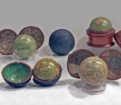 From Piva&C a selection of scientific instruments and other treasures | Collection of English pocket globes, from late XVIIIth century - early XIXth century. Each one of them is signed and kept in its original case, with the map of the sky #flashbackfair #turin #exhibitors #flashback16 #thenewsyncretism #allartiscontemporary #artfair