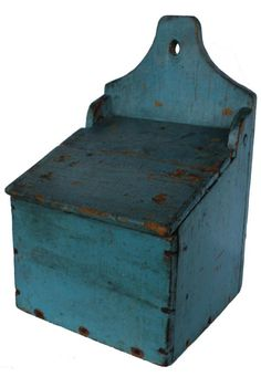 """19 Mid 19th century New England over size, hanging  Wall Box / Salt Box. with a shaped top with a hole for hanging ,Signed by maker on the back, in old blue paint, square head nail construction, circa 1840 Measurements are: 16"""" tall x 10"""" wide x 6 1/2"""" deep Parcel Box, Country Treasures, Salt Box, Wall Boxes, Braided Rugs, Country Furniture, Antique Shops, Rug Hooking, Home Projects"""