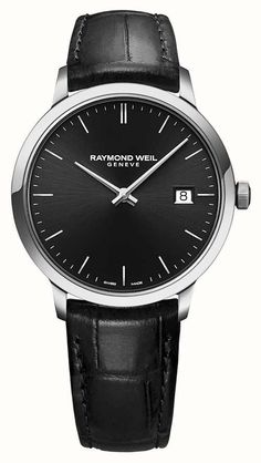 39 mm, stainless steel, black leather strap, black dial, white indexes Swiss Watches For Men, Luxury Watches For Men, Mens Dress Watches, Men's Watches, Raymond Weil, Classic Man, Quartz Watch, Black Leather, Colour Black