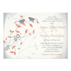Coral Orange Grey Birds Leaves Wedding Invitation