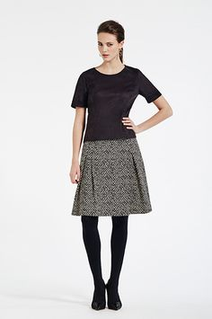 Two-tone jacquard pleated skirt #XandresAW16 #Autumn #NewArrivals #FallCollection #AW16 #Xandres