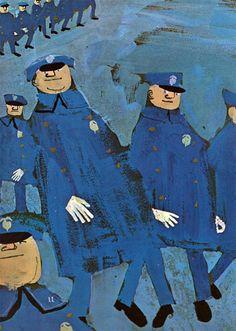 blue vintage illustration