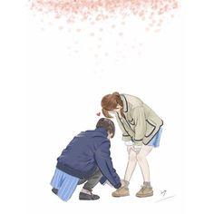 Strong woman bong soon Art Love Couple, Cute Couple Drawings, Cute Couple Cartoon, Cute Love Cartoons, Anime Love Couple, Anime Woman, Anime Art Girl, Anime Couples Manga, Cute Anime Couples