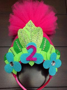 pink trolls headband trolls crown first birthday crown