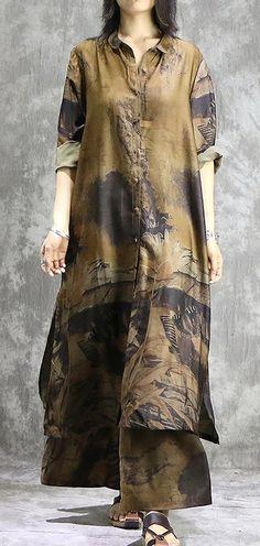 Elegant wide leg pant silk Tunics yellow two pieces Plus Size  Dress summer prints