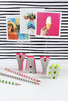 Add some fun to a teen's bedroom with these easy-to-make photo holders! DIY FTW!