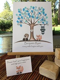 Customizable woodland animal fingerprint tree guestbook for a woodland animal themed baby shower, featuring a blue owl, fox, beaver, and raccoon. * Click on the image for additional details.