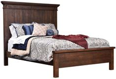 "Solid wood Rustic Cherry bed frame, Amish handcrafted bedroom furniture, panel bed, farmhouse bed, 64""H headboard, five sizes available"