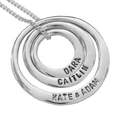 Uberkate 3 circle necklace (sml, med, large) with each of the kids names and birthdates on it