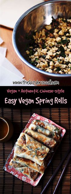 This vegan, chinese-style spring rolls are super easy and authentic! You only need 3 ingredients for the filling - tofu, chives, and shiitake. Even non-vegans will be impressed! Gluten-free option is possible - you can use rice wrappers instead.