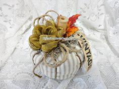 Farmhouse Ticking Fabric Pumpkin Hand by CelestinaMarieDesign