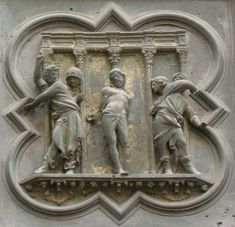 Lorenzo Ghiberti - Flagellation, one of the panels on the North Doors of The Florence Baptistery - the door depicted scenes from the New Testament Renaissance Artists, Renaissance Era, Renaissance Architecture, Art And Architecture, Florence Baptistery, Lorenzo Ghiberti, Flagellation, Book Design Inspiration, Web Gallery Of Art