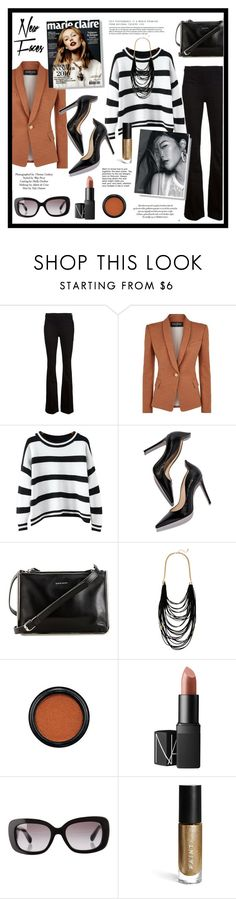 """""""A sprinkle of cinnamon"""" by eereich ❤ liked on Polyvore featuring Frame Denim, Balmain, Chicnova Fashion, Topshop, Carven, Sparkling Sage, MAC Cosmetics, NARS Cosmetics, Prada and JustFab"""