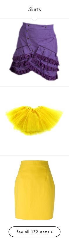 """Skirts"" by soenticing ❤ liked on Polyvore featuring skirts, dolls, purple, bottoms, faldas, jupe, high waisted knee length skirt, yellow pencil skirt, yellow skirt and high-waisted skirts"