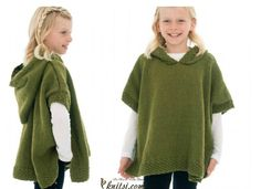 With this Girl Hooded Poncho Free Knitting Pattern, you can knit this very cute chunky knit cabled poncho with a cozy hood for chilly days. Poncho Knitting Patterns, Knitted Poncho, Free Knitting, Baby Knitting, Knit Patterns, Hooded Poncho Pattern, Knit Cardigan Pattern, Bolero Pattern, Poncho With Sleeves