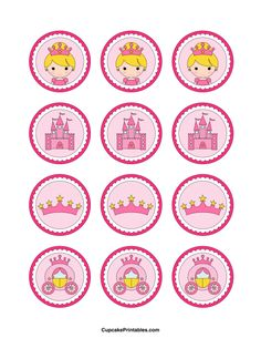 Princess cupcake toppers. Use the circles for cupcakes, party favor tags, and more. Free printable PDF download at http://cupcakeprintables.com/toppers/princess-cupcake-toppers/