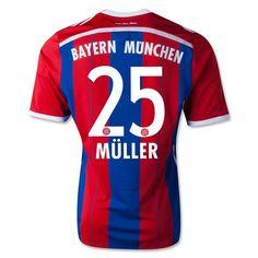 Men's 2014/15 FC Bayern Munich Thomas Müller 25 Red/Blue Home Soccer Jersey
