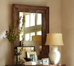 Pottery Barn - santorini mirror, love the vignette