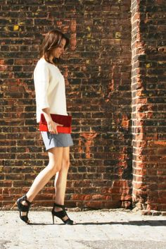 Study NY sweatshirt in cream, Ali Golden shorts in blue chambray, wrk-shp clutch in red. All kindly made in America.