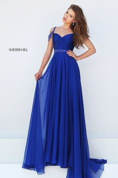 Sherri Hill 50086 Beaded Knotted Ruched V-back Royal Prom Dresses 2016 Prom Dresses 2016, Sherri Hill Prom Dresses, A Line Prom Dresses, Dance Dresses, Formal Dresses, Dress Prom, Dress Long, Chiffon Dress, Prom 2016
