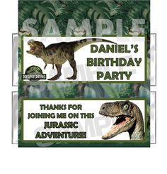 Personalized JURASSIC DINOSAUR BIRTHDAY PARTY candy bar wrappers favor FREE FOIL #BirthdayChild #partyfavors