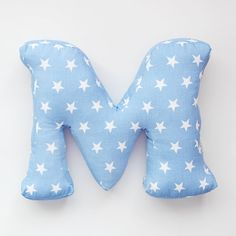 Baby Blue Nursery fabric letter pillow cushion