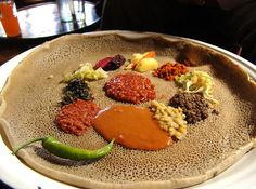 The culinary magic that is Ethiopian cooking: Shiro wat with kik alicha, gomen, and other vegetarian delights.