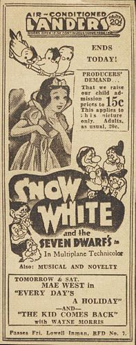 Snow White (the price of children's admission: 15cents!!)