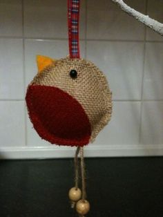 Hessian robin with Harris tweed red breast
