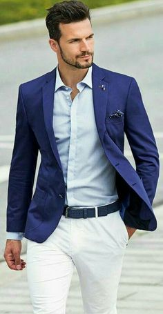 1d2ed6e27920 Very dapper and dressed up summer style. You can t go wrong with tailored  white pants paired with different shades of blue.