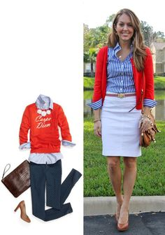 red cardigan, striped shirt, white skirt (or ankle pants). From J's Everyday.