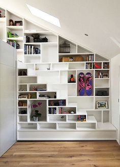 Built in shelves. I think I would make one or two of the openings into windows #tinyhouse #tiny #shelves #modest #storage
