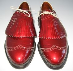 Vintage 50s MENs WINGTIP METALLIC RED PATENT LEATHER METAL SPIKE GOLF SHOEs 8 C | eBay $125