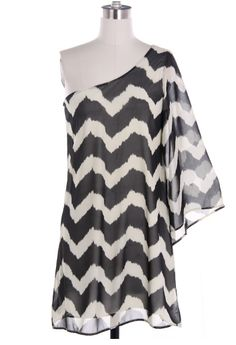 Black One Shoulder Chevron Dress